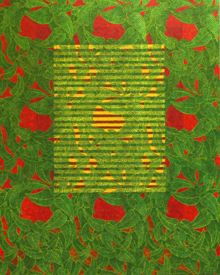 Red Room Green Leaves (2013) Collage, acrylic & oil on mdf. 150 x 120 cm (59 x 47¼ in)